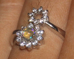 Natural Ethiopian Welo Opal 925 Silver Ring Size (7 US) 1