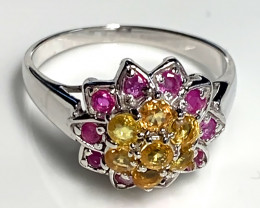 Natural Ruby Sapphire Sterling Silver .925 14 Kt Gold Ring Size 9.5 NR
