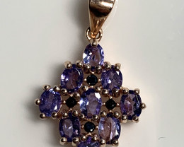 SPARKLING TANZANITE PENDANT - .925 STERLING SILVER and Rose Gold