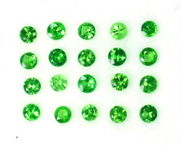 1.01 Cts Natural Green Tsavorite Garnet 2.2 mm Round 20 Pcs Kenya