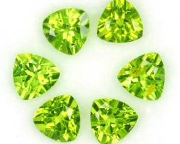 5.12 Cts Natural Parrot Green Peridot 6 mm Trillion 6 Pcs Pakistan