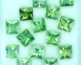 11.48 Cts Natural Apatite Beautiful Green Square Cut 14 Pcs Brazil