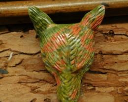 Unakite jasper carved wolf head pendant (G0537)