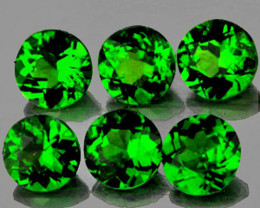 3.50 mm Round 6 pcs 1.22cts Chrome Green Diopside [VVS]