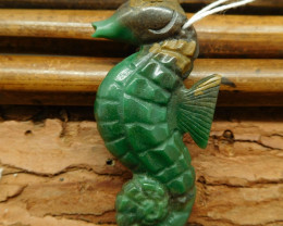 African jade carved seahorse pendant (G0547)