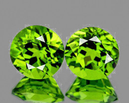 7.00 mm Round 2 pcs 3.15cts Green Peridot [VVS]