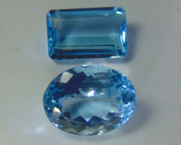 29.55~CTS NATURAL ELONGATED blue TOPAZ