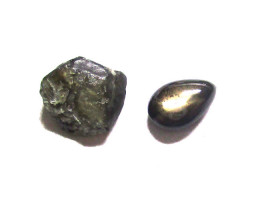 1.97cts Natural Before and After Sample Set of Rough and Cut Black Star Sap