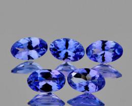 5x3 mm Oval 5 pcs 1.38cts Purple Blue Tanzanite [VVS]