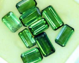 12.40 Carat Emerald Green Color Natural Tourmaline 9 PCS LOTT