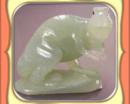 **950.0ct Chinese Apple Mountain Jade Carved T-Rex Dinosaur**