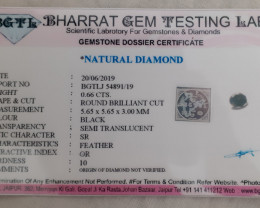 Cert. 0.66ct 5.65mm Black diamond brilliant cut #bd6