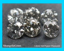 0.5ct 1.4mm Salt Pepper diamonds AA grade 36  to 38 gems
