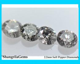 0.25ct 2.2mm Salt Pepper diamonds AA grade 5 gems