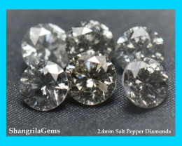 1ct 2.4mm Salt Pepper Diamonds AA Grade  16 gems
