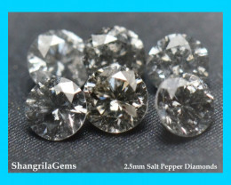0.5ct 2.5mm Salt Pepper Diamonds AA Grade 7 to 8 gems