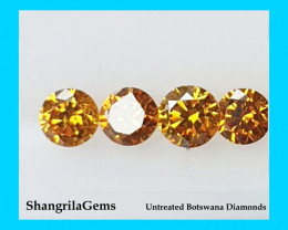 Four 1.5mm Orange Diamond brilliant cut diamonds grade SI1 0.015ct Total 0.