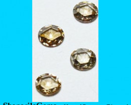 Parcel of 4 3.15mm Rose cut Champagne diamond 0.44ct total ctw 3.15 by 1.25