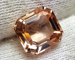 Glowing Asscher Cut, 6.15 ct, Unheated Champagne Topaz-Pakistan