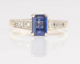 14 kt Solid Gold Ring  0.96 ct Sapphire - Diamond - New Jewelry