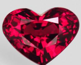 2.08Ct. Natural Pinkish Red Rhodolite Garnet Africa Heart Attractive Unheat