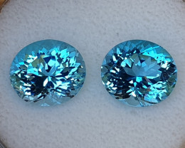19,80ct Swiss blue Topaz pair - Master cut!