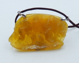 Hand Carved Amazing Yellow Opal Bear Pendant Bead ,Wholesale Jewelry D17