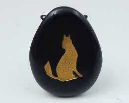 Carved Wolf Pendant ,Obsidian Wolf ,Wolf  Pendant D37