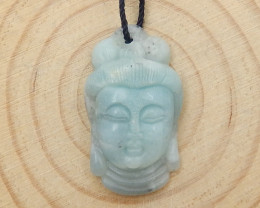 New Arrival Buddha Pendant Carved Amazonite Gemstone Cabochon D40