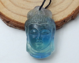 New Arrival Buddha Pendant Carved Fluorite Gemstone Cabochon D39