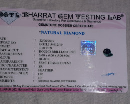 Cert. 1.2ct 6mm Black diamond brilliant cut #bd7
