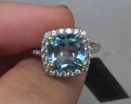 (B5) Brand New $1700 Nat 3.68ct. Aquamarine Wht Sapphire Diamond Accent Rin