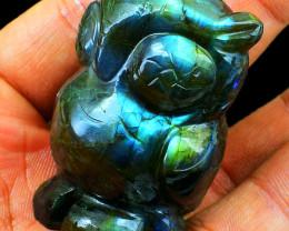 Genuine 605.00 Cts Blue Flash Labradorite Owl