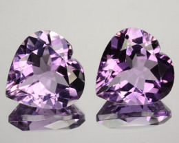 ~PAIR~ 10.50 Cts Natural Purple Amethyst 12mm Heart Cut Bolivia