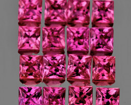2.00 mm Square 16pcs 1.13cts Red Pink Sapphire [VS}