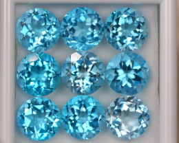 43.26ct Swiss Blue Topaz Round Cut Lot D47