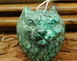 African turquoise carved cat pendant (G0585)