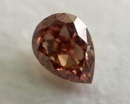 GIA Report Pear Shape 0.35 Carat Natural Fancy Deep Orangey Pink Loose Diam