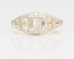 14 kt Solid Gold  Ring  0.16 ct Diamond - New Jewelry