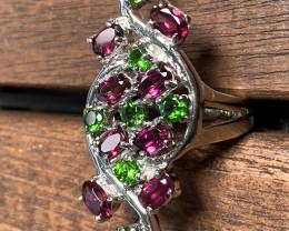 Ruby Pink Rhodolite Garnet Diopside .925 Sterling Silver Ring