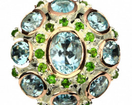⭐Glittering Topaz Chrome Diopside Sterling Silver ring Size 9.5