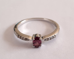 Rhodolite, Diamond 925 Sterling silver ring #707