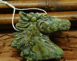 Ocean kambaba carved horse pendant bead (G0602)