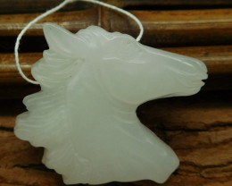 White jade carving horse head (G0609)