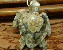 Ocean jasper carved turtle bead (G0611)