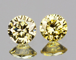 ~UNTREATED~ 0.14 Cts Natural Fancy Diamond 2 Pcs Round Cut Africa
