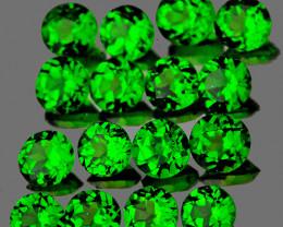2.50 mm Round 16 pcs 1.24cts Chrome Green Diopside [VVS]