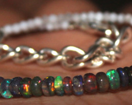 11 Crts Natural Welo Smoked Opal & Moonstone Beads Bracelet 201