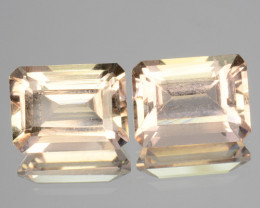 3.26 Cts Natural Soft Peach Morganite 2 Pcs Octagon Cut Brazil