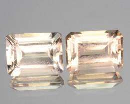 3.23 Cts Natural Soft Peach Morganite 2 Pcs  Octagon Cut Brazil